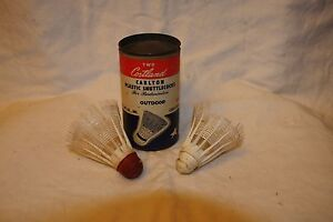 Vintage Two Cortland Carlton Plastic Shuttlecocks Badminton Original Container