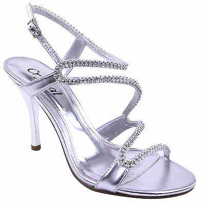 LADIES WOMENS PROM PARTY EVENING BRIDAL BRIDESMAID HIGH HEELS SHOES SANDALS SIZE