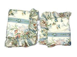 Beau-Ideal-Vintage-amp-Rare-Luxury-Pair-Pillow-Shams-Pillowcases-Blue-Floral-HTF