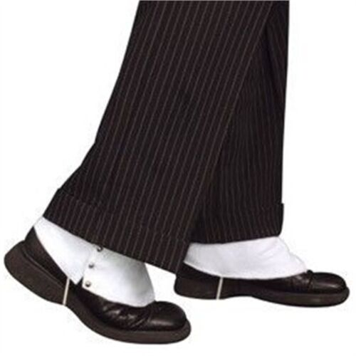 White Adults Spats Shoe Covers Fancy Dress Gangster 1920s Accessory Costume