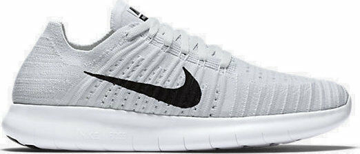 Nike Free RN Flyknit White Black Pure Platinum 831070 101 Wmn Sz. 8.5