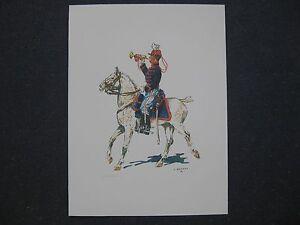 affiche-trompette-du-2eme-chasseurs-a-cheval-1914-uniforme-Belge
