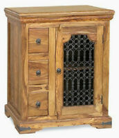 Jali Sheesham Rosewood Real Wood Hifi Display Cabinet & Telephone Table