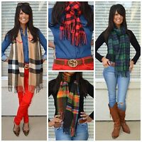 Plaid Check Tartan Buffalo Black Watch Scottish Cashmere Feel Soft Fringe Scarf