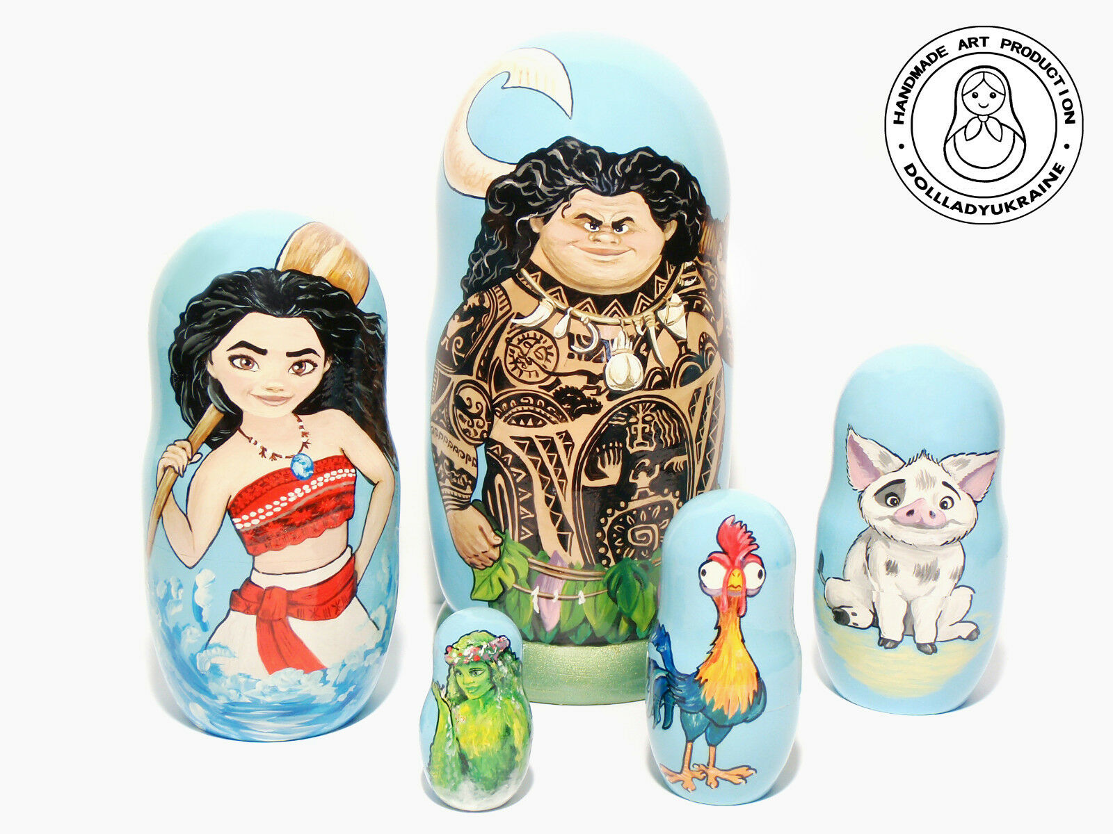 Moana Nesting Doll 5 pieces, Big Dimensione Matryoshka 7,25 in.