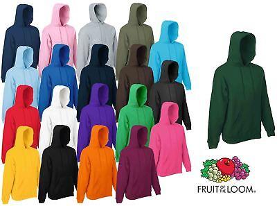 Fruit Of The Loom Hoodie Sweatshirt Hoody Jumper Plain Top Sweater Hooded Rabatte Verkauf