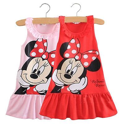 NEW Girls Minnie Mouse Ruffled Lapel Dress Mini Skirt Summer Beach Sundress 0-5T