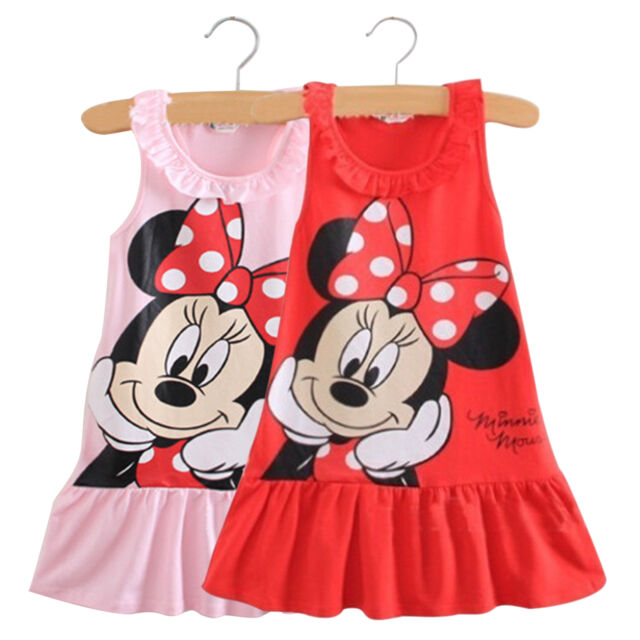 Kids Baby Girls Minnie Mouse Cartoon Sleeveless Clothes Party Short Mini Dress