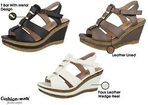 cbb1a20bf08 Ladies Cushion Walk Wedge Sandals T-Bar Wide E Fit Peep Toe Sling ...