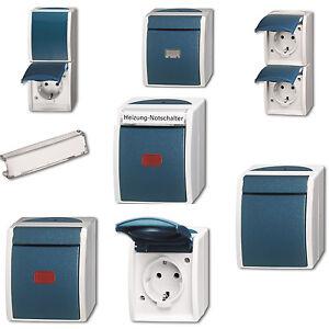 busch j ger ocean ip44 feuchtraum aufputz ap grau blaugr n auswahl ebay. Black Bedroom Furniture Sets. Home Design Ideas