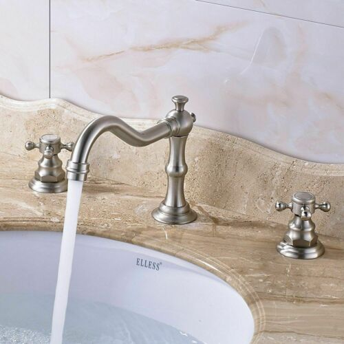 Widespread Bathroom Sink Basin Faucet Waterfall 2 Handle 3 hole Vanity Mixer Tap