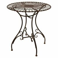 Rustic Round Bistro Table Outdoor Balcony Furniture Garden Coffee Wrought Iron