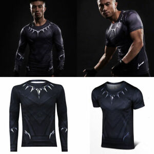 Black-Panther-Men-039-s-Long-Short-T-Shirt-Superhero-Comics-Compression-Fitness-Top