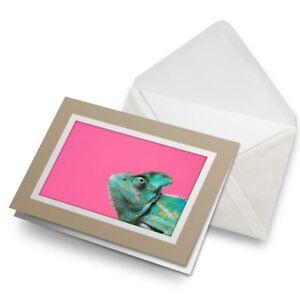 Greetings-Card-Biege-Green-Chameleon-Hot-Pink-Pop-Art-21327