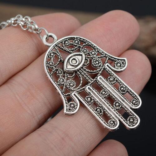Good Luck Protection Hamsa Symbol Fatima Hand Evil Eye Pendant Chain Necklace JH