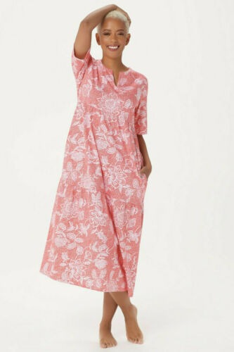Coral Stan Herman Stamped Floral Cotton Gown L