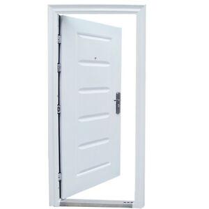haust r t r wohnungst r sicherheitst r 96 x 205 cm weiss din rechts ebay. Black Bedroom Furniture Sets. Home Design Ideas