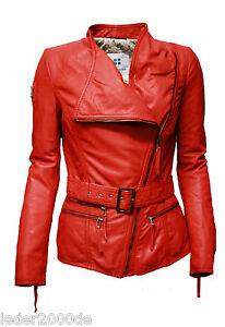 Biker Damen Lederjacke echt Leder feinstes Lammnappa knautschig weich Rot Gürtel