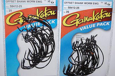 4 packs gamakatsu size 1//0 offset extra wide gap worm senko hook 6 pr pack 58411
