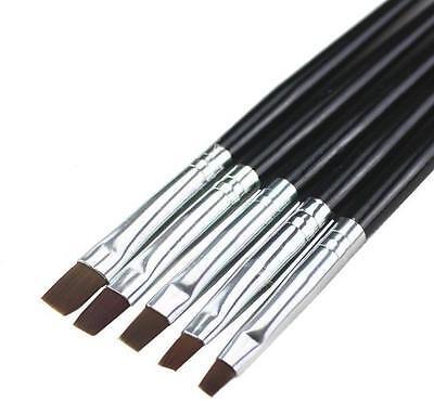 Hot! 5pcs Acrylic UV Gel Nail Art False Tips Drawing Painting Brush Pen Set GOCA
