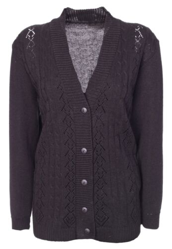 Womens Cardigan Ladies Front Crochet Knit Long Sleeve Aran Type Plus Size 14-20