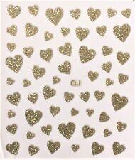 Accessoire ongles: nail art - Stickers autocollants - motifs coeurs dorés