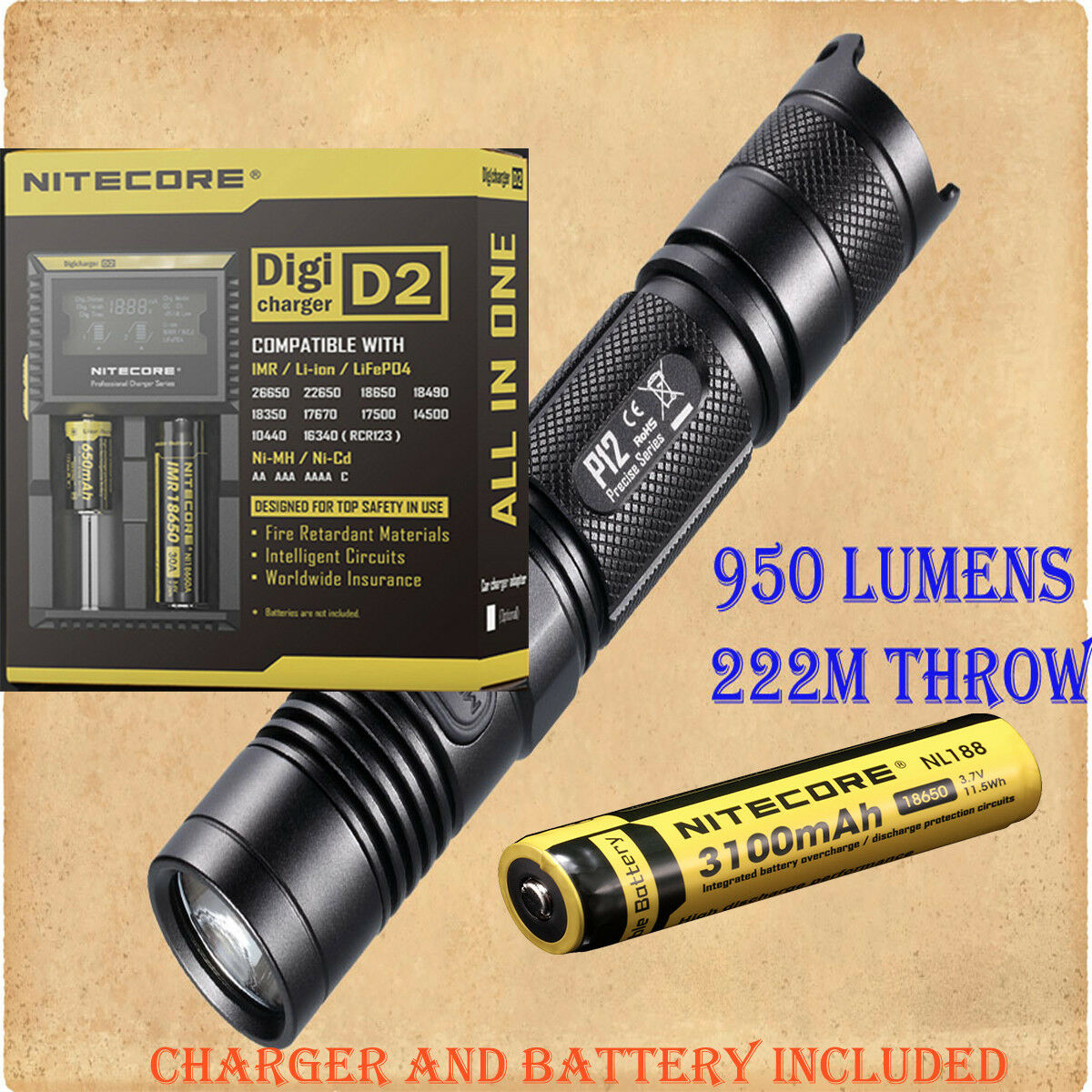 Nitecore P12 Cree XM-L2 LED  Flashlight - w D2 Digicharger & NL188 3100mAh 18650  promotional items