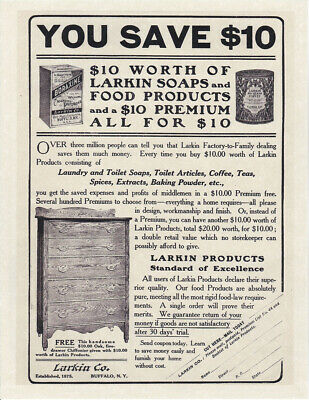 "LARKIN SOAP 1898 Chautauqua OAK DESK Premium 8 x 10/"" Vintage REPRINT AD Print"