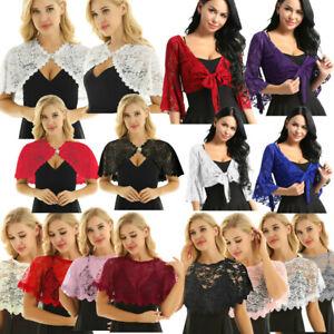 Womens-Lace-Bolero-Shrug-Cardigan-Cropped-Party-Top-Jacket-Shawls-Wraps-Evening