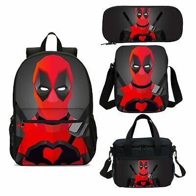 Deadpool Marvel Kids School Backpack Cooler Lunch Shoulder Pen Bag Value Set Lot