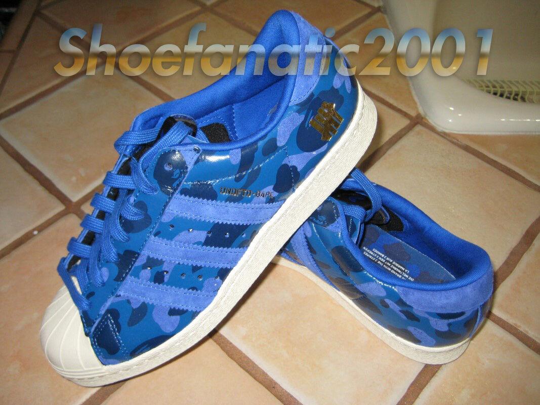 Adidas Undefeated BAPE Bathing Ape Superstar bluee Camo UNDFTD 7.5