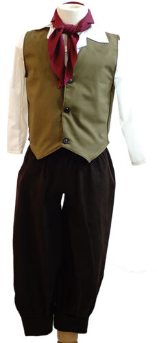 Oliver-Von Trapp DICKENS EDWARDIAN BOY Olive Green Waistcoat 3 Piece all ages