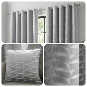 Curtina-KENDAL-Silver-Geometric-Jacquard-Eyelet-Curtains-amp-Cushions