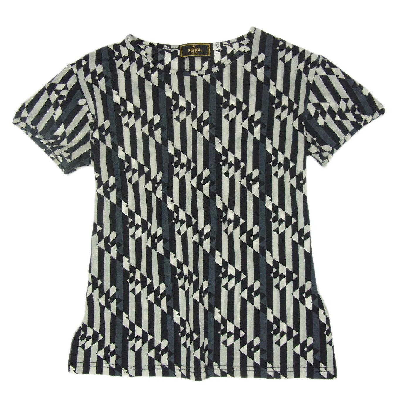 Auth FENDI Logos Stripe Pattern T Shirt Tops Sz 42 US M F S 2107