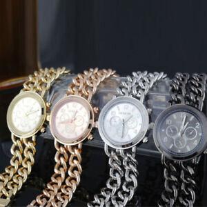 Einfache-Stil-Damenuhr-Cowboy-Kette-Edelstahl-Ehering-Quarz-Armbanduhr