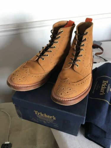 Suede 8 Trickers Boots Tan Brogue Uk 1 Golden 2 XqIwrIxgA5