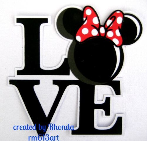 LOVE MINNIE BLOCK title paper piecing Premade Scrapbook Pages albums cards by Rh