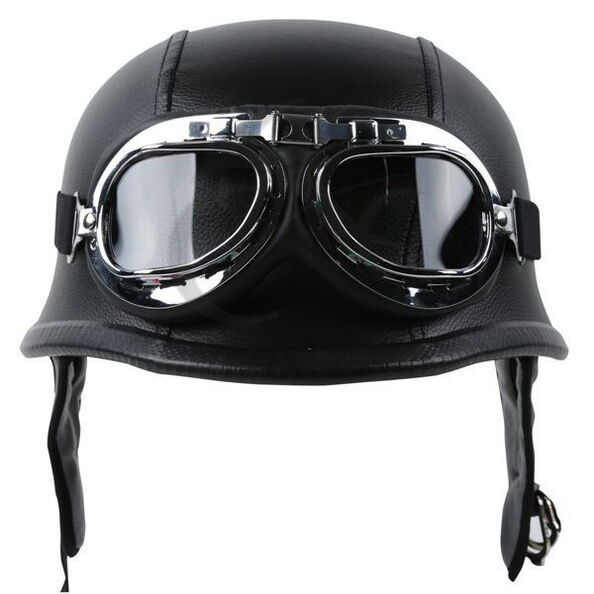DOT Motorcycle German Style Leather Half Face Helmet with Pilot Goggles M/L/XL