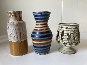 Set-Of-3-Vintage-Handmade-70s-Studio-Pottery-Vases-Vase-OOAK