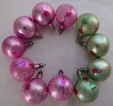 "11 Vintage Glass 2"" Christmas Ball Ornaments Poland Pretty Pink & Green"