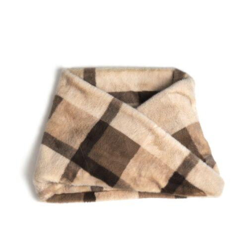Plaid Beige Winter Faux Fur Thick Neck Warmer Circle Loop Scarf Wrap