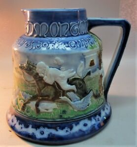 Rare-MOORCROFT-MACINTYRE-FLORIAN-WARE-Pottery-Pitcher-034-TAVERN-034-c-1890-antique