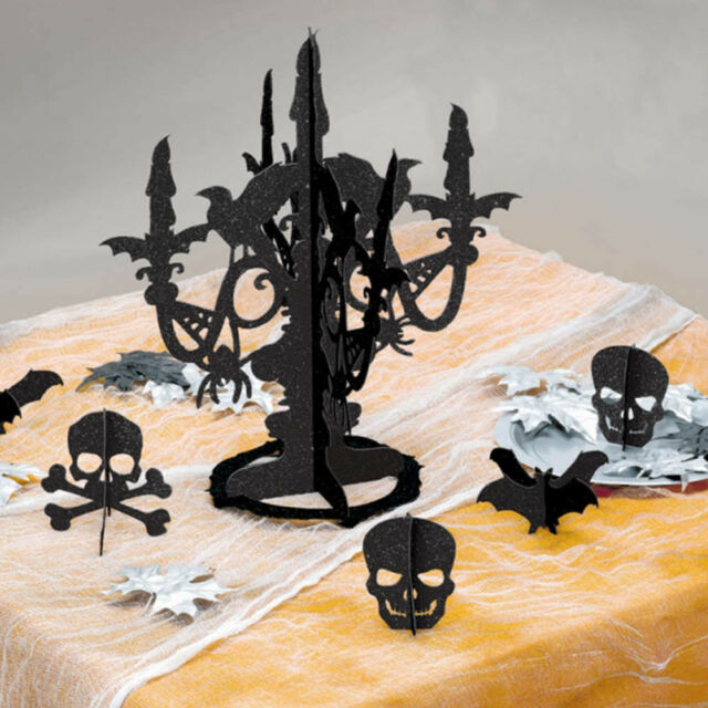 Glitter Candelabra Centrepiece Halloween Decoration Table Feature Spooky Candle