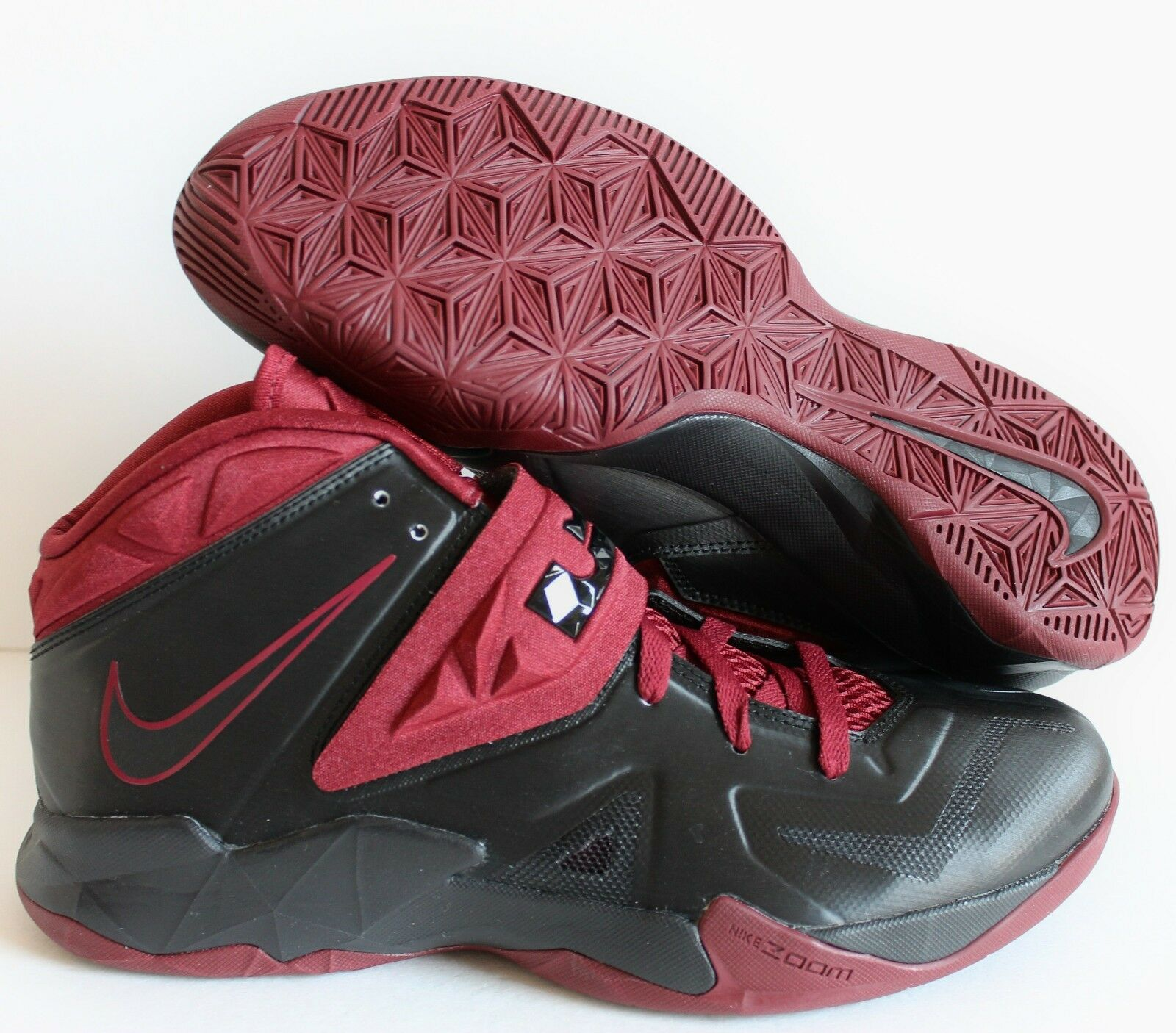 NIKE MEN ZOOM SOLDIER VII 7 iD BLACK-BURGUNDY Price reduction  Wild casual shoes