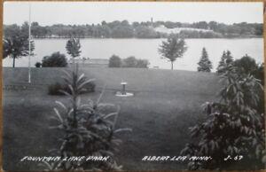 Albert-Lea-MN-1940s-Realphoto-Postcard-Fountain-Lake-Park-Minnesota-Minn