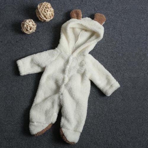 Newborn Baby Boys Girls Hooded Romper Jumpsuit Bodysuit Outfits Clothes 0-24 M