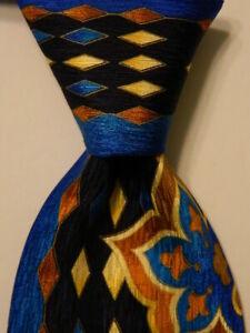 VITALIANO-PANCALDI-Men-039-s-Silk-Necktie-ITALY-Luxury-Geometric-Blue-Yellow-PERFECT