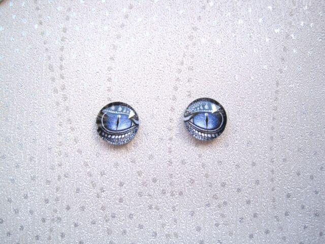 Domed Glass Blue Grey Dragons Eyes Stud 12mm Sp Earrings Halloween