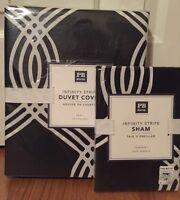 Pottery Barn Teen Infinity Stripe Twin Duvet & Standard Sham Black