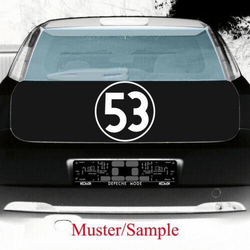 Aufkleber Tattoo 53 weiß 30cm Auto Folie Racing Startnummer Nummer Herbie Nr